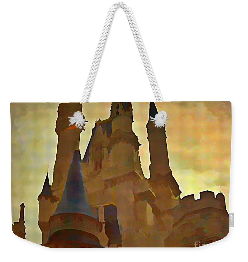 Castle Weekender Tote Bag featuring the painting Errie Castle by John Malone