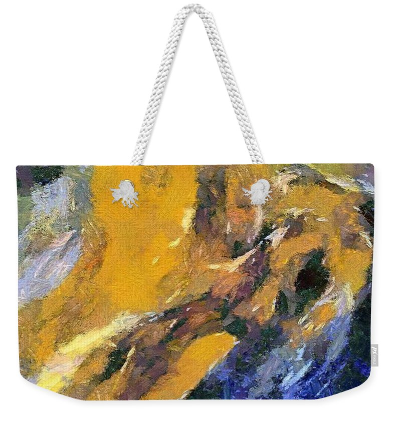 Abstract Art Weekender Tote Bag featuring the painting Eruption I by Dragica Micki Fortuna
