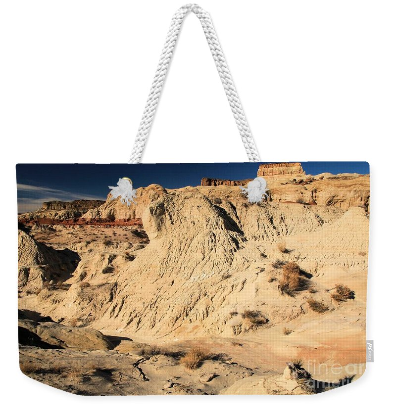 Toad Stools Weekender Tote Bag featuring the photograph Escalante Badlands by Adam Jewell