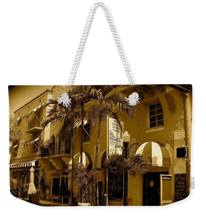 Espanola Way Miami Print Weekender Tote Bag featuring the photograph Espanola Way In Miami South Beach by Monique's Fine Art