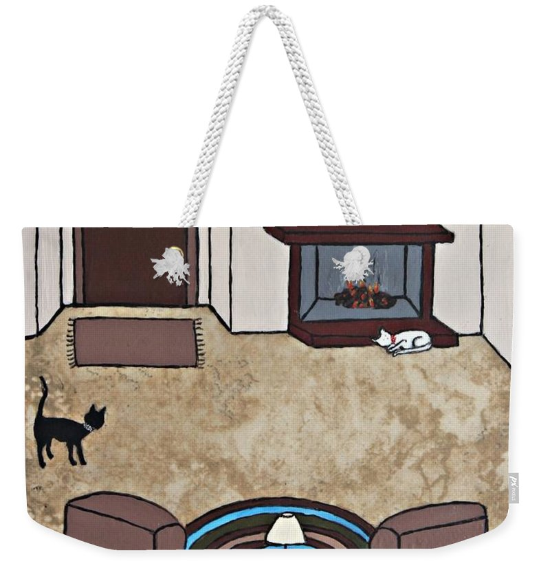 Folk Art Weekender Tote Bag featuring the painting Essence Of Home - Cat By Fireplace by Sheryl Young