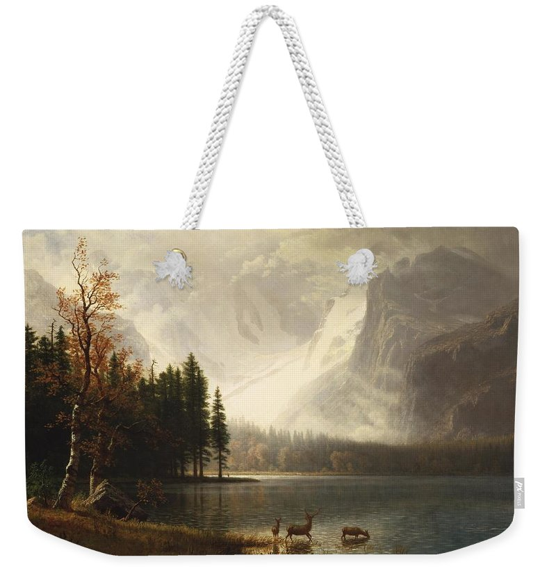 Albert Bierstadt Weekender Tote Bag featuring the painting Estes Park Colorado Whytes Lake by Albert Bierstadt