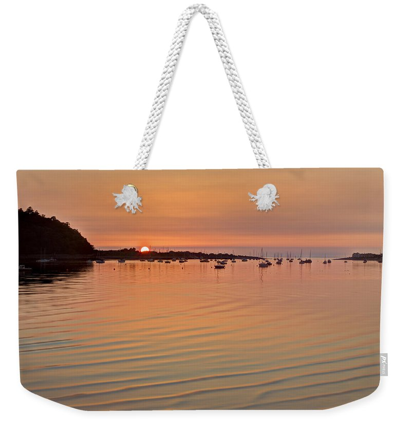 Sunset Weekender Tote Bag featuring the photograph Estruary Harbour Sunset by Beverly Cash