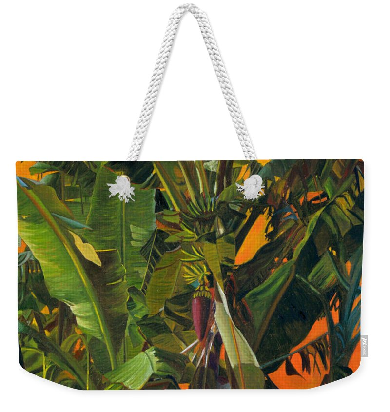 Banana Tree Weekender Tote Bag featuring the painting Eugene And Evans' Banana Tree by Thu Nguyen