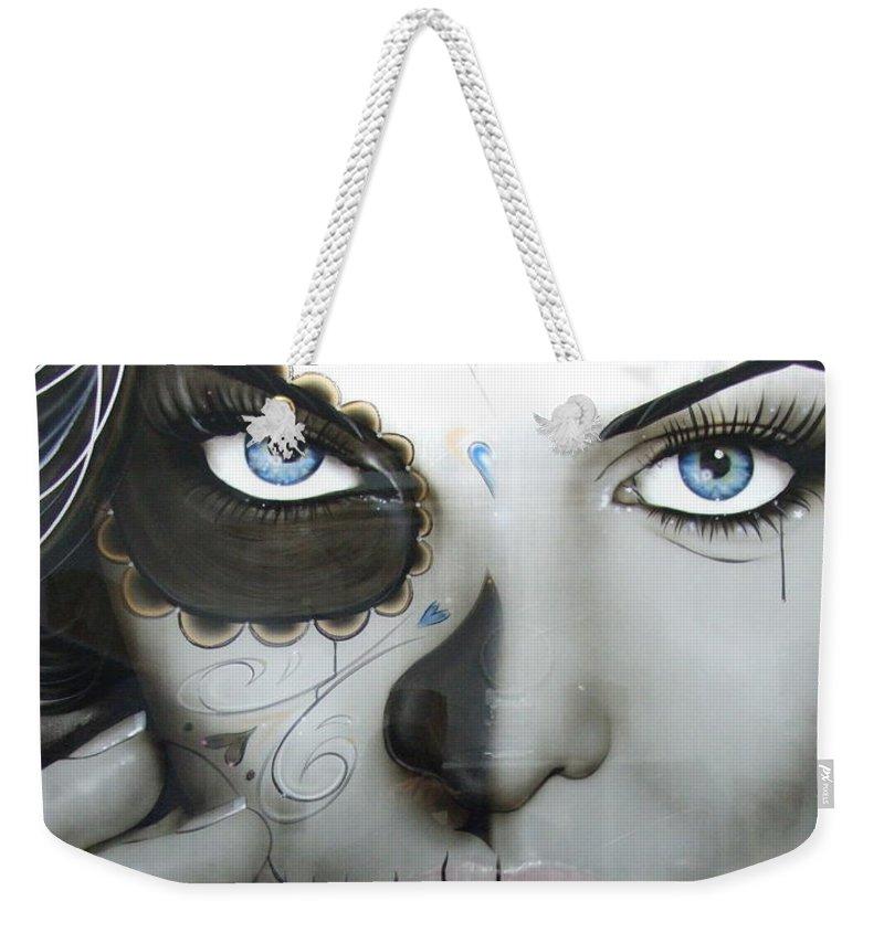 Sugar Skull Weekender Tote Bag featuring the painting Euphoric Angel by Christian Chapman Art