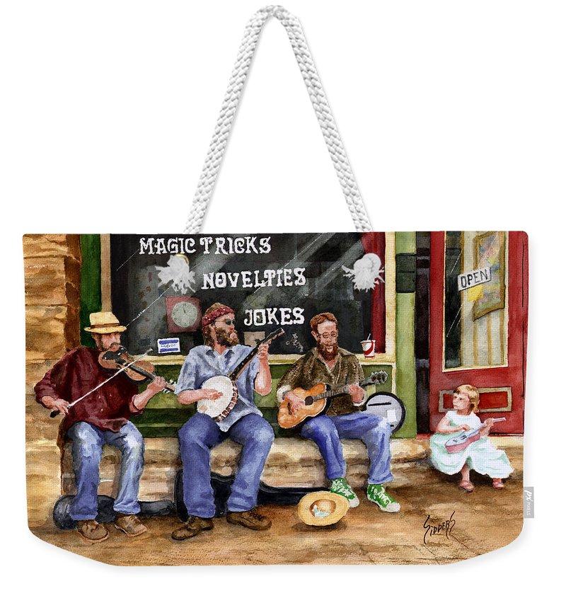 Banjo Weekender Tote Bag featuring the painting Eureka Springs Novelty Shop String Quartet by Sam Sidders