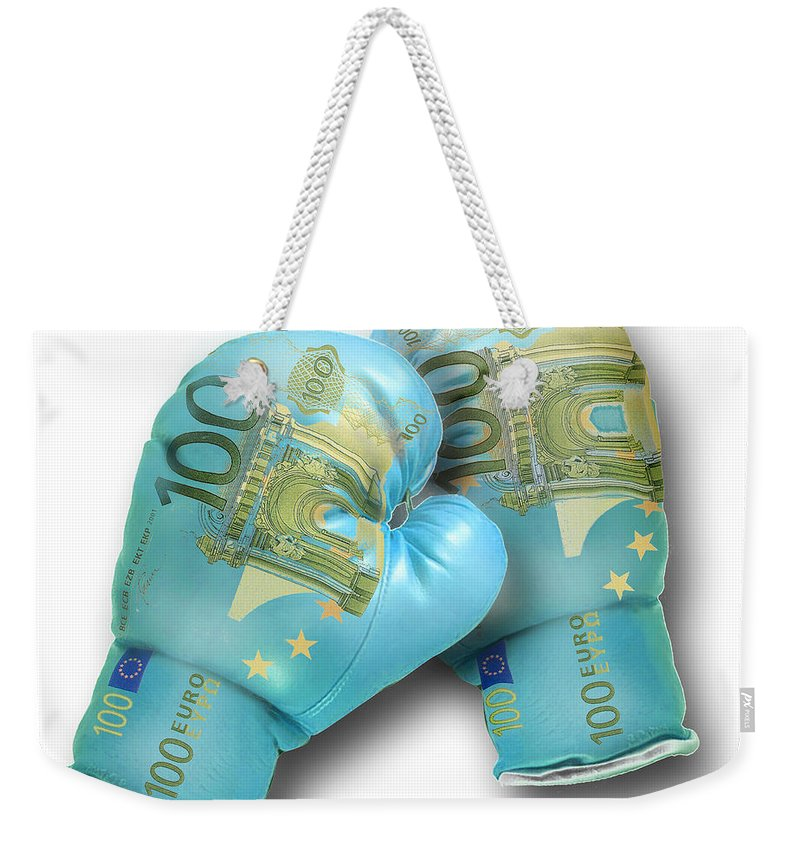 Money Weekender Tote Bag featuring the digital art Euro Gloves-2 by Chris Van Es