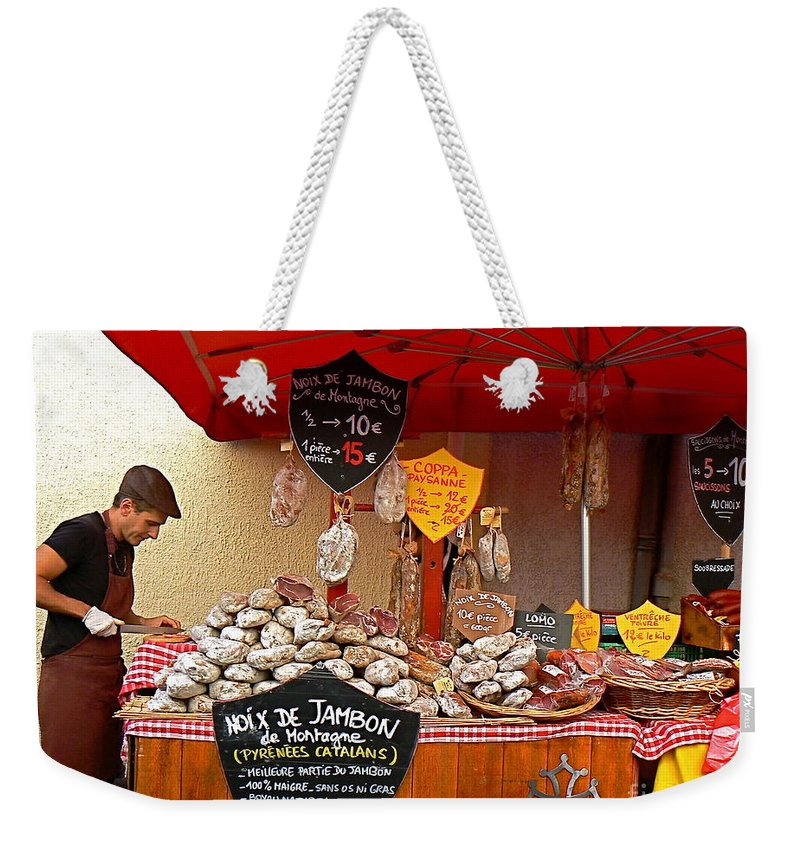European Weekender Tote Bag featuring the photograph A European Butcher by France Art