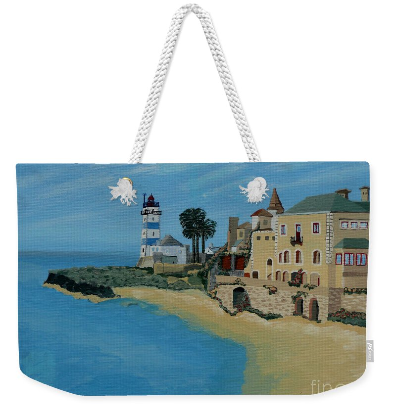 Lighthouse Weekender Tote Bag featuring the painting European Lighthouse by Anthony Dunphy