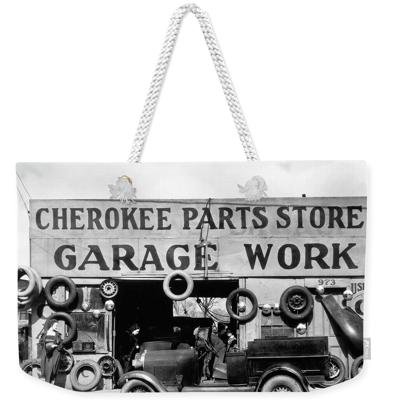 1936 Weekender Tote Bag featuring the photograph Evans Garage, 1936 by Granger