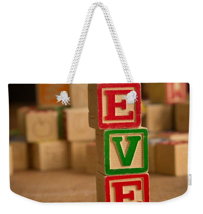 Alphabet Weekender Tote Bag featuring the photograph Eve - Alphabet Blocks by Edward Fielding
