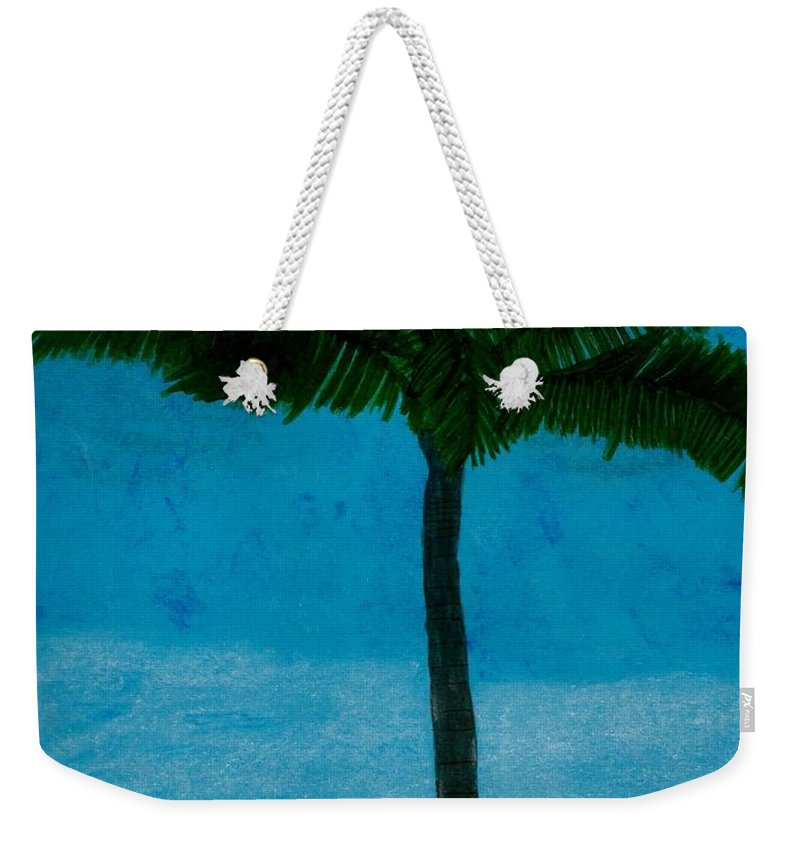 Palm Tree Weekender Tote Bag featuring the drawing Evening At The Beach by D Hackett