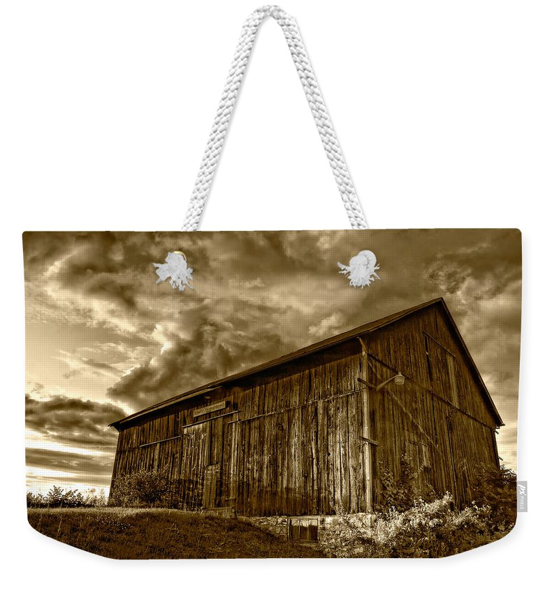Rural Weekender Tote Bag featuring the photograph Evening Barn Sepia by Steve Harrington