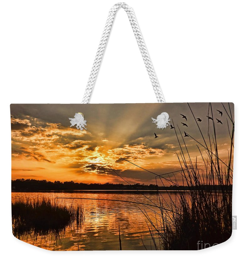 Seascape Weekender Tote Bag featuring the photograph Evening Calm by Kelley Freel-Ebner
