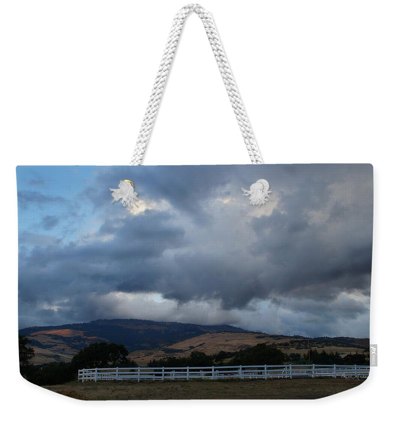 Farm Weekender Tote Bag featuring the photograph Evening Clouds Over Ashland Farm Country by Mick Anderson