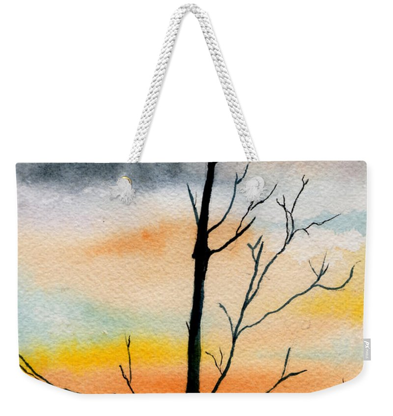 Watercolor Weekender Tote Bag featuring the painting Evening Comes by Brenda Owen