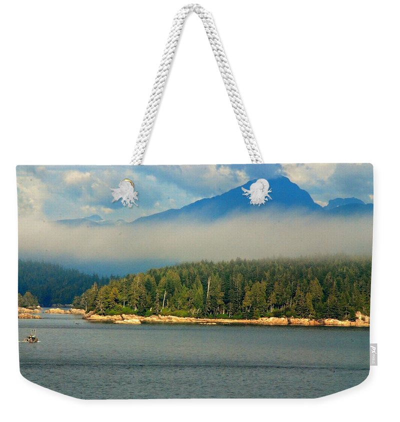 Outdoors Weekender Tote Bag featuring the photograph Evening Fog by John Schneider