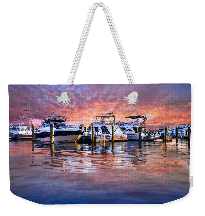 Boats Weekender Tote Bag featuring the photograph Evening Harbor by Debra and Dave Vanderlaan