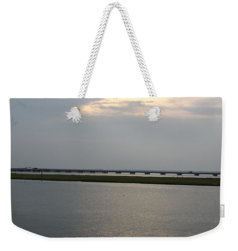 Chincoteague Sound Weekender Tote Bag featuring the photograph Evening Light Over The Sound by Christiane Schulze Art And Photography
