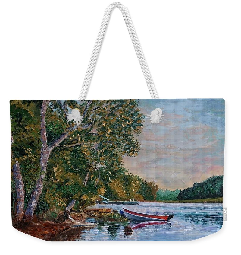 Landscape Weekender Tote Bag featuring the painting Evening On The Lake by Efim Melnik