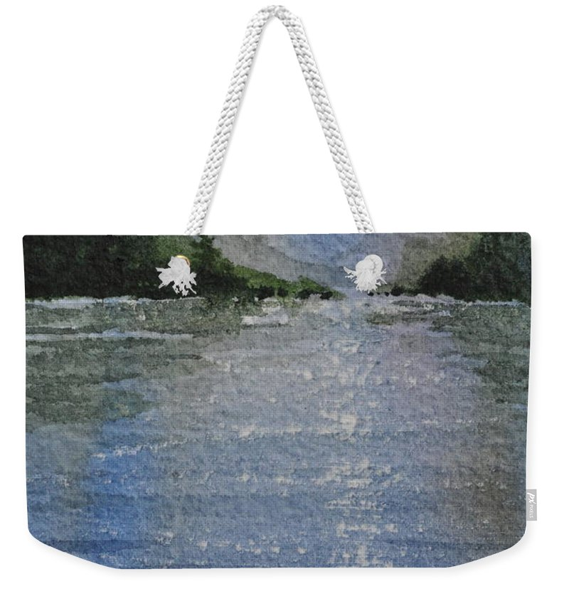 Spruce Weekender Tote Bag featuring the painting Evening On The Lake by Sally Rice