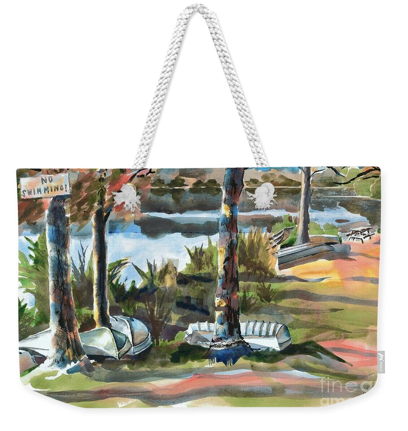 Evening Shadows At Shepherd Mountain Lake No W101 Weekender Tote Bag featuring the painting Evening Shadows At Shepherd Mountain Lake No W101 by Kip DeVore