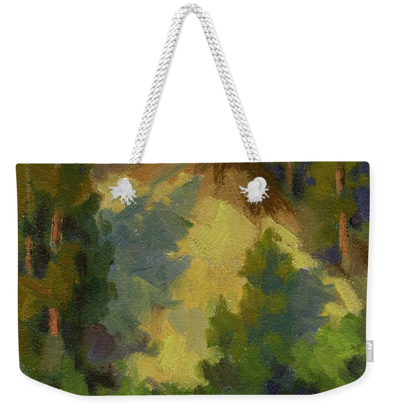 Evening Weekender Tote Bag featuring the painting Evening Shadows Teanaway River by Diane McClary