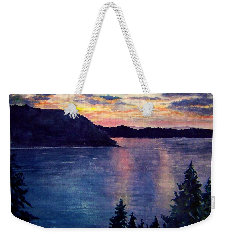 Sunset Weekender Tote Bag featuring the painting Evening Song by Brenda Owen