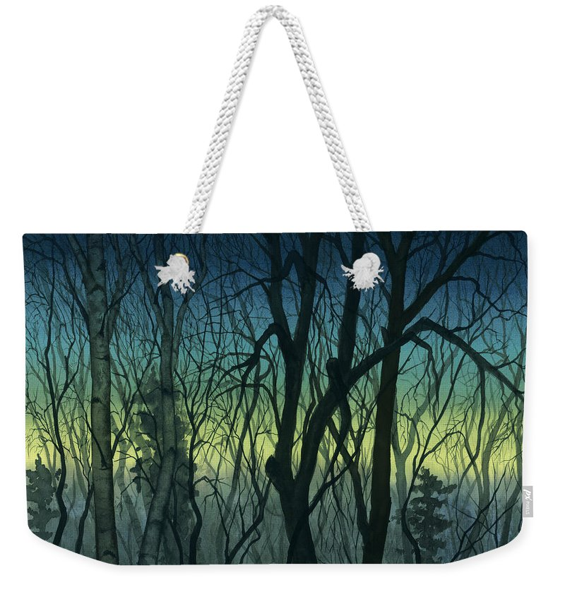 Blue Weekender Tote Bag featuring the painting Evening Stand by Mary Tuomi