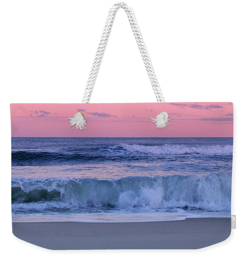 Jersey Shore Weekender Tote Bag featuring the photograph Evening Waves - Jersey Shore by Angie Tirado