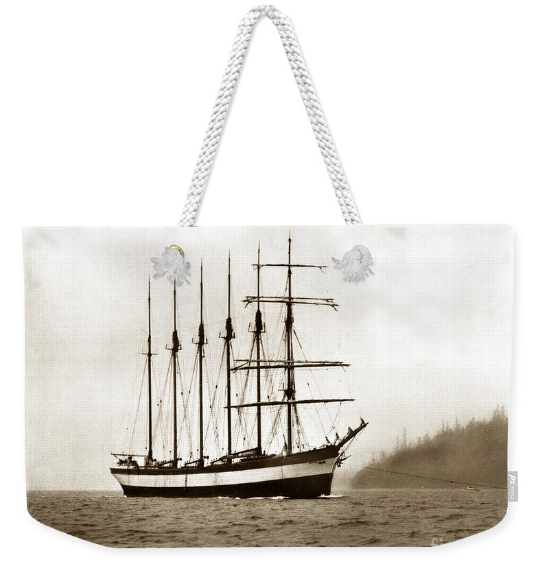 Everett G. Griggs Weekender Tote Bag featuring the photograph Everett G. Griggs Sailing Ship Washington State 1905 by California Views Archives Mr Pat Hathaway Archives