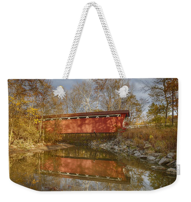 Cvnp Weekender Tote Bag featuring the photograph Everett Rd. Covered Bridge In Fall by Jack R Perry