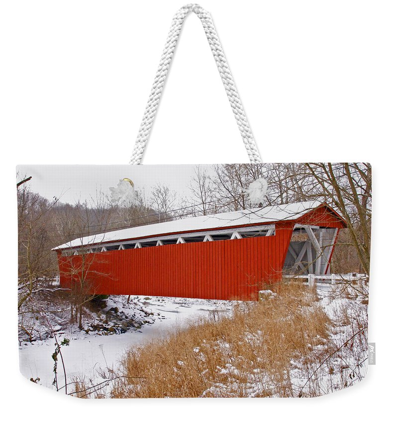 Ohio Weekender Tote Bag featuring the photograph Everett Rd. Covered Bridge In Winter by Jack R Perry