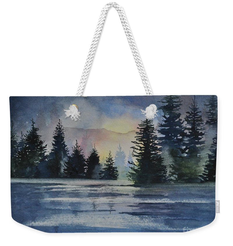 Spruce Weekender Tote Bag featuring the painting Evergreen Glow by Sally Rice