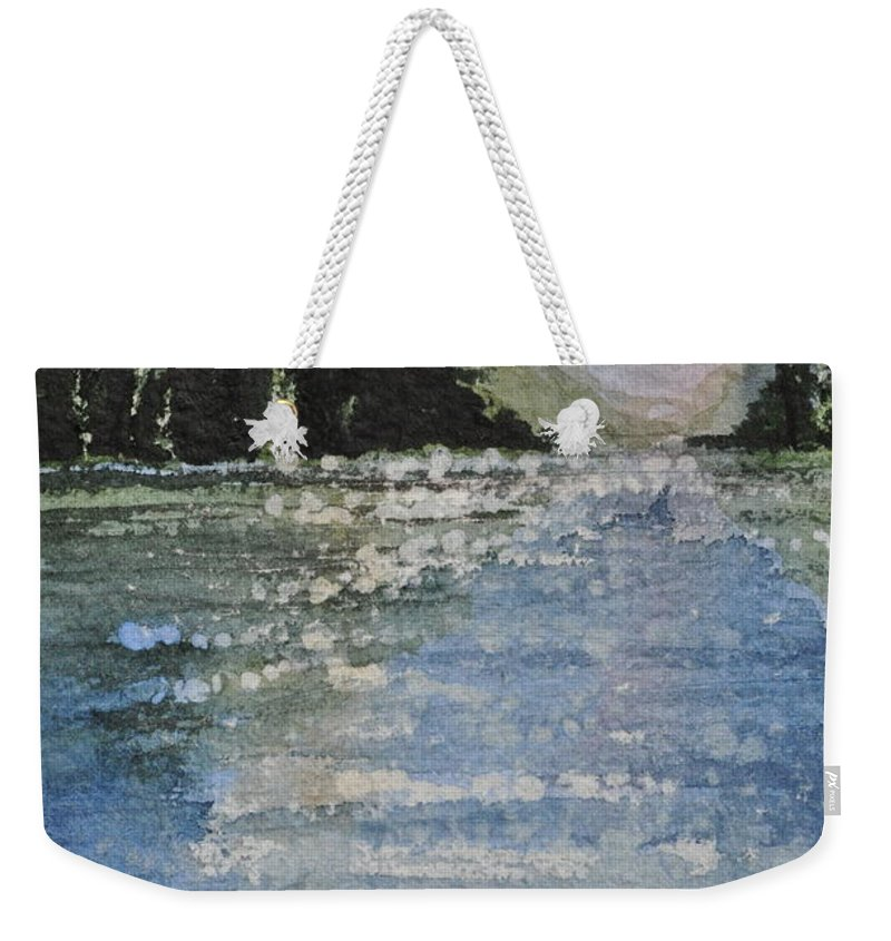 Spruce Weekender Tote Bag featuring the painting Evergreen Shore by Sally Rice