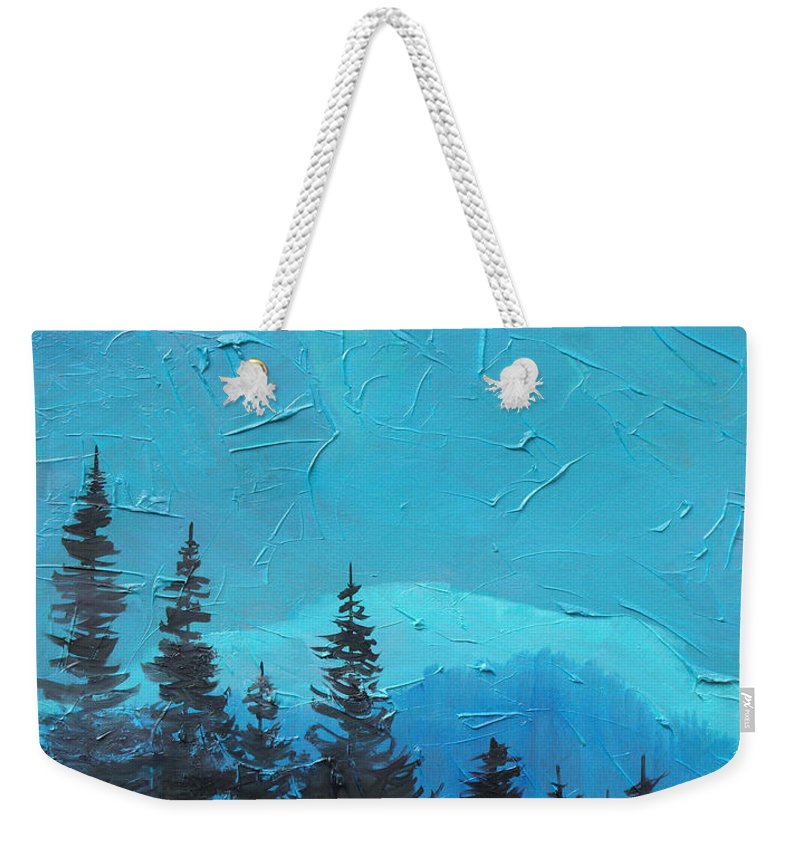 Landscape Weekender Tote Bag featuring the painting Evergreen trees by Sergey Bezhinets