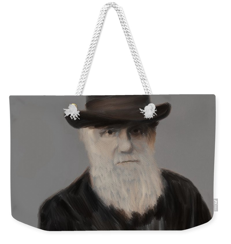 Darwin Weekender Tote Bag featuring the painting Evolution Stage Two Of Three by Scott Bowlinger