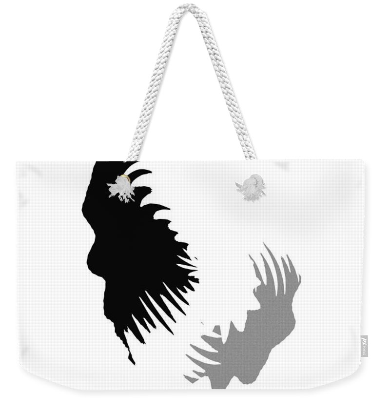 Abstract Painting Homo Sapiens Erectus Human Beeing Black White Grey Expressionism Evolution Weekender Tote Bag featuring the painting Evolution by Steve K