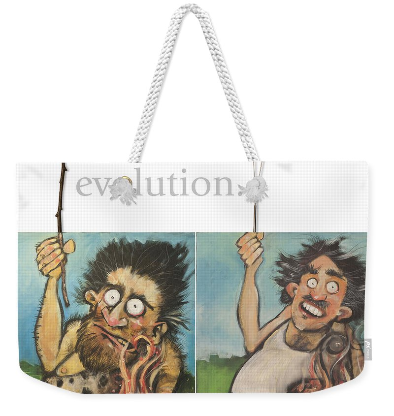 Steak Weekender Tote Bag featuring the painting Evolution The Poster by Tim Nyberg