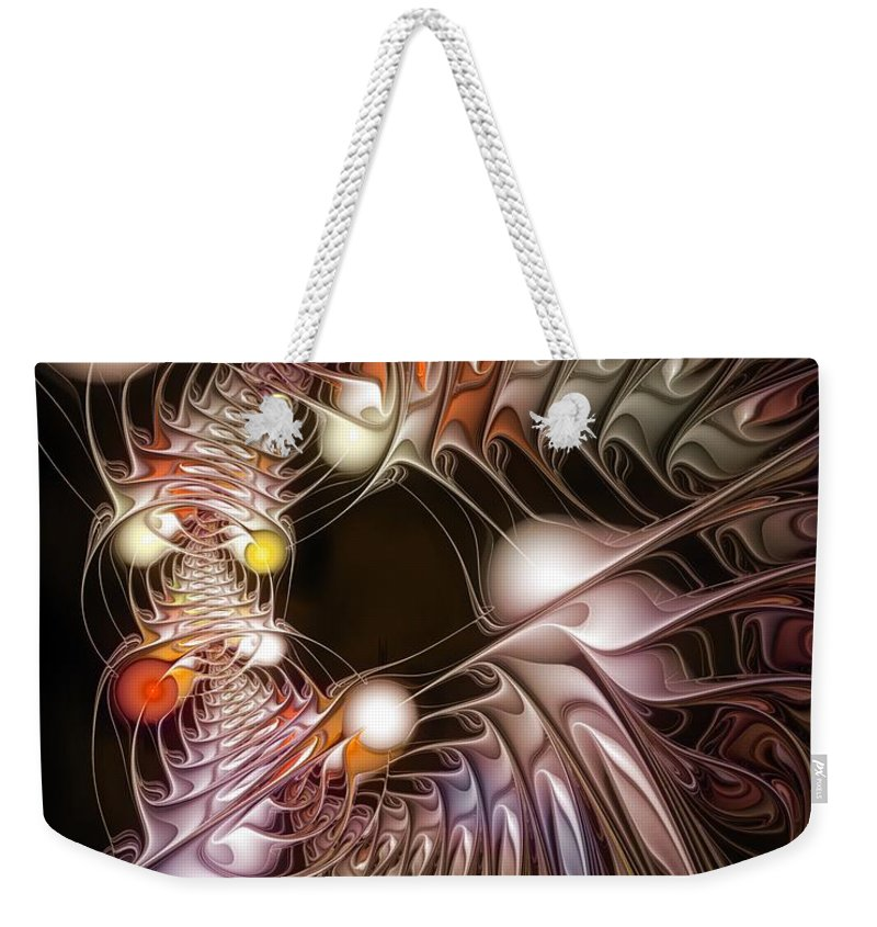 Abstract Weekender Tote Bag featuring the digital art Examining Virtuosity by Casey Kotas