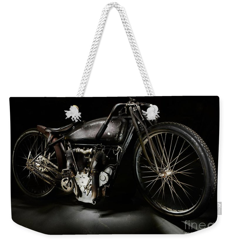 Motorcycle Weekender Tote Bag featuring the photograph Excelsior Board Track Racer V by Frank Kletschkus