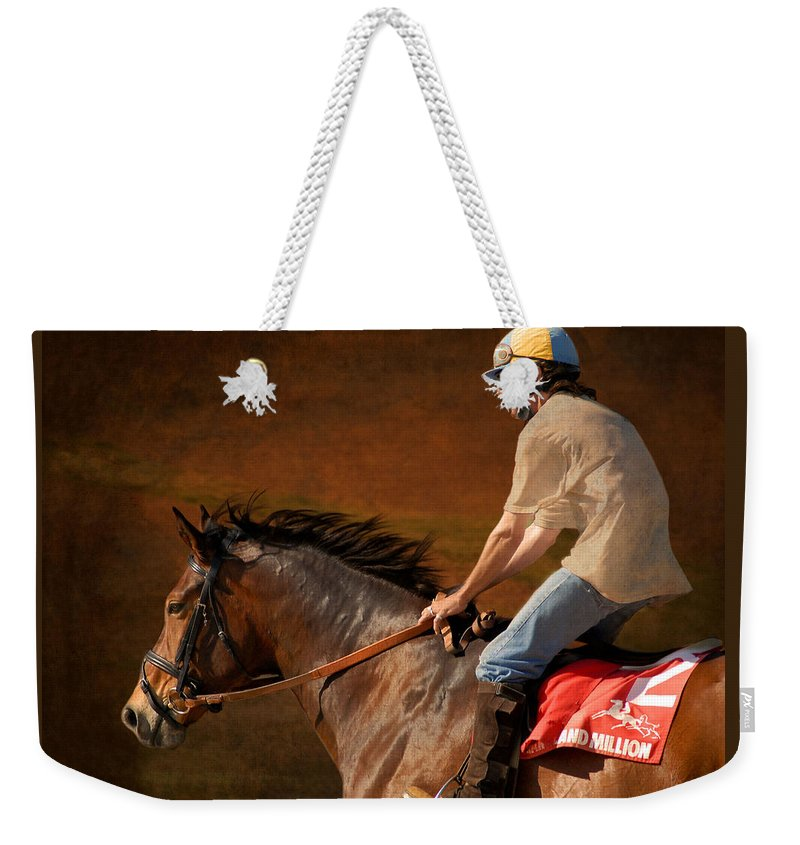 Race Weekender Tote Bag featuring the photograph Exercising Morty by Fran J Scott