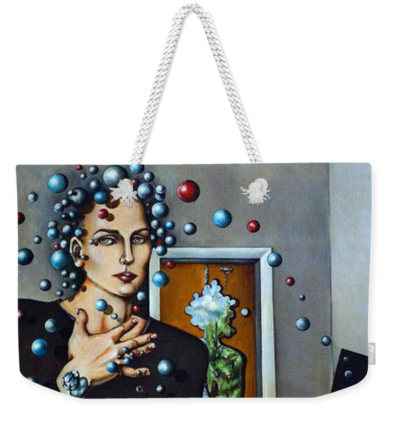 Surreal Weekender Tote Bag featuring the painting Existential Thought by Valerie Vescovi