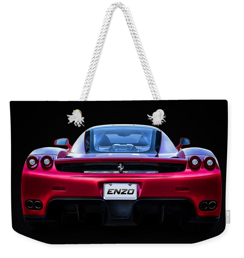 Red Weekender Tote Bag featuring the digital art Exotic Ferrari Enzo by Douglas Pittman