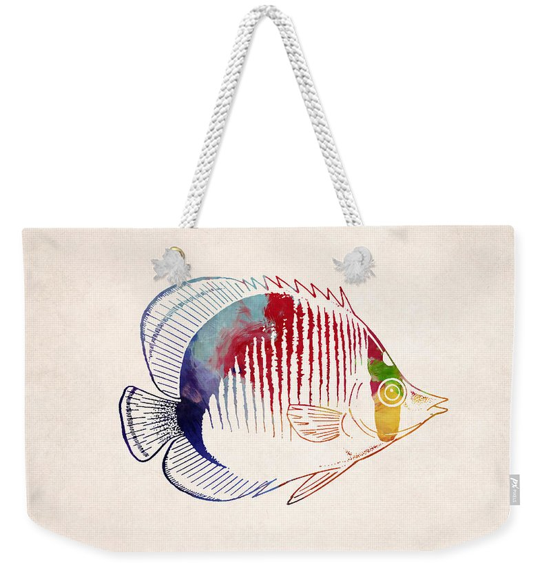 Animal Weekender Tote Bag featuring the digital art Exotic Tropical Fish Drawing by World Art Prints And Designs