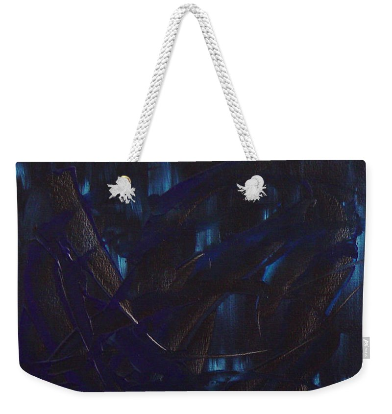 Dean Triolo Weekender Tote Bag featuring the painting Expectations Blue by Dean Triolo