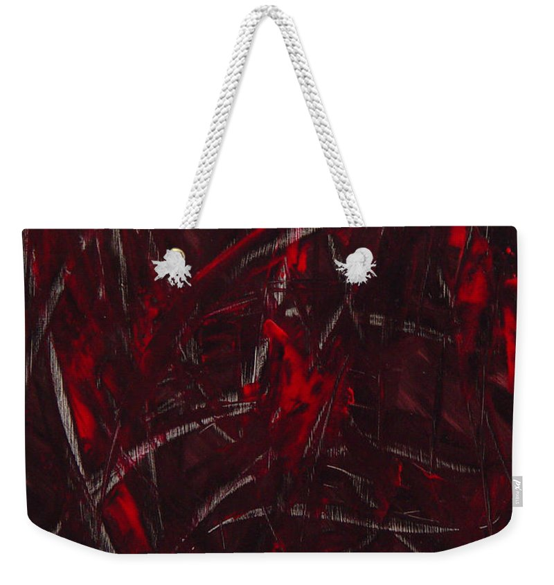 Abstract Weekender Tote Bag featuring the painting Expectations Red by Dean Triolo