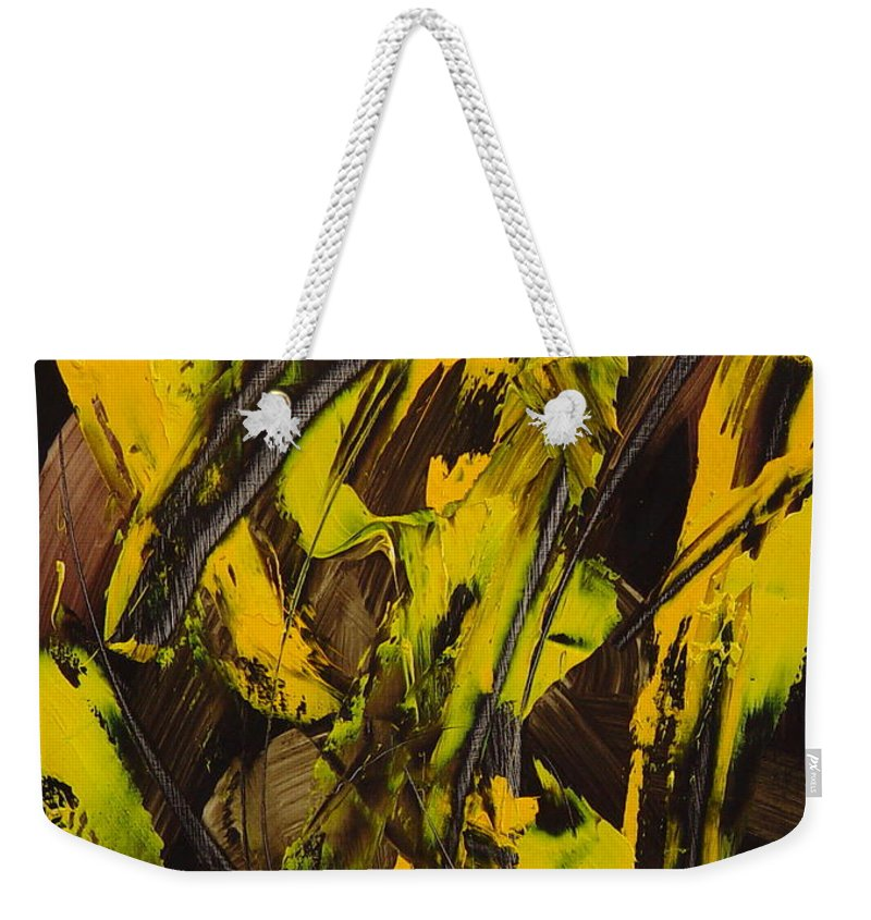Abstract Weekender Tote Bag featuring the painting Expectations Yellow by Dean Triolo