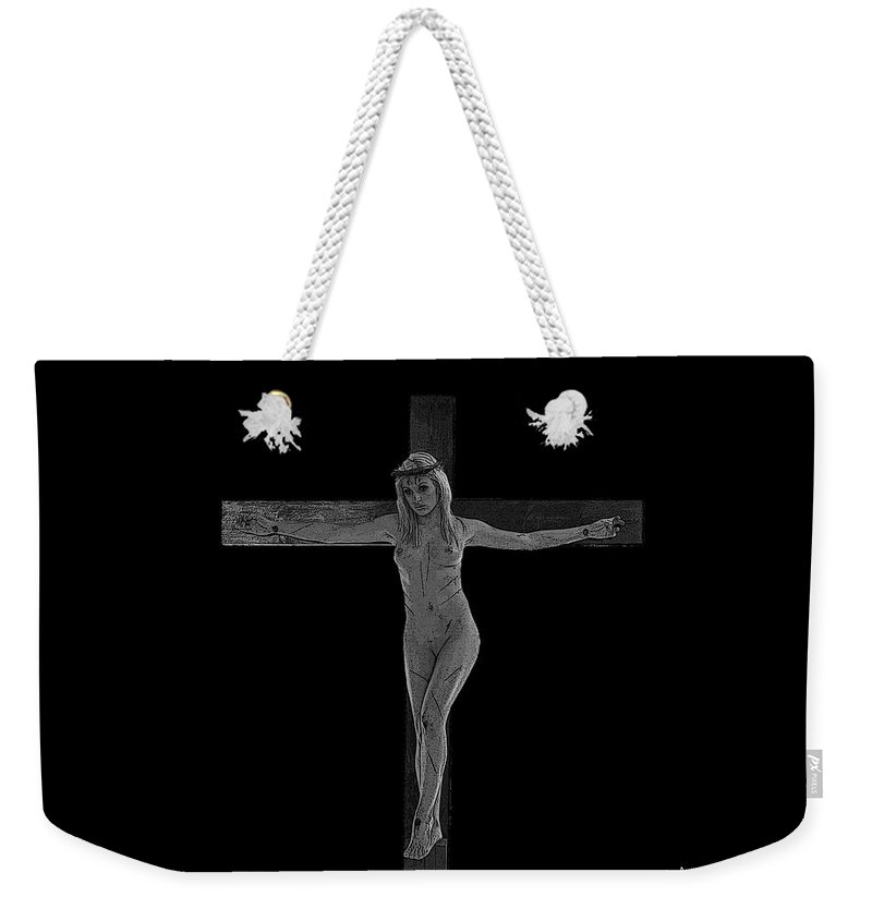 Experimental Weekender Tote Bag featuring the photograph Experimental Crucifix by Ramon Martinez