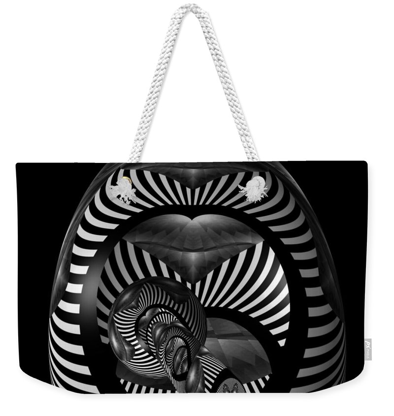 Digital Art Weekender Tote Bag featuring the digital art Exploration Into The Unknown Bw by Barbara St Jean